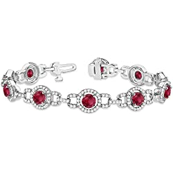 18k Gold Luxury Halo Ruby and Diamond Link Bracelet