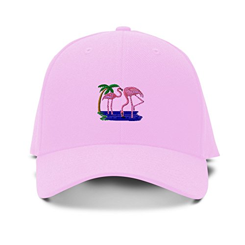 Closure 6 Panel Caps (Flamingos Animals Embroidery Adjustable Structured Baseball Hat Soft Pink)