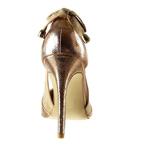 Angkorly - Zapatillas de Moda Tacón escarpín stiletto abierto decollete mujer piel de serpiente brillantes tanga Talón Tacón de aguja alto 10 CM - Champán