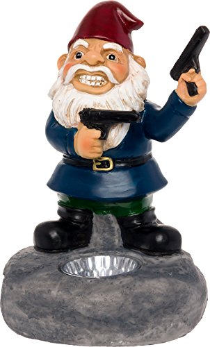 Solar Powered Second Amendment Lawn Gnome - Light Up Garden Statue by GreenLighting
