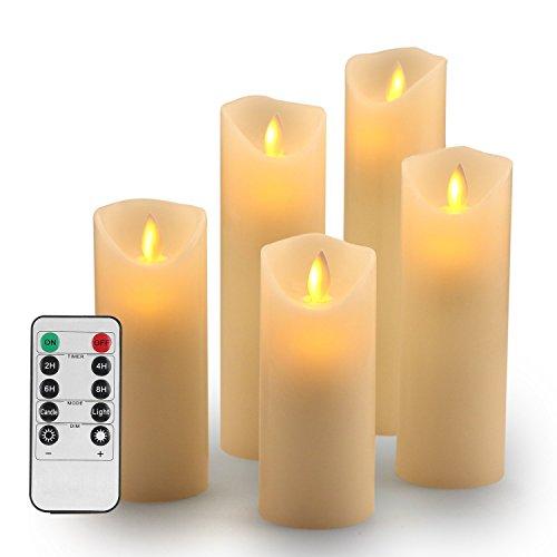 LED Kerzen,Flammenlose Kerzen 180 Stunden Dekorations-Kerzen-Säulen im 5er Set (10,2 cm 12,7 cm 15,2 cm,17.8 cm,20.3 cm). Realistisch flackernde LED-Flammen aus Echtwachs in Elfenbeinfarbe. 10-Tasten Fernbedienung mit 24 Stunden Timer-Funktion (5*1, Ivory)