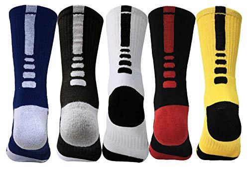 TIKECO Performance Cushion Crew Training Socks,Youth Elite Basketball Crew Socks,Mens Athletic Cushioned Crew Socks (Color 1) (Elite Basketball Crew Socks)