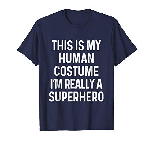 Mens Funny Superhero Costume Shirt Halloween Kids Adult Men Women XL Navy