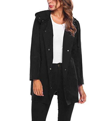 Blouson Veste 1 Légère Caupuche Soteer Imperméable Ouverture De Noir Femme Boutonné À Pluie 5wAzq