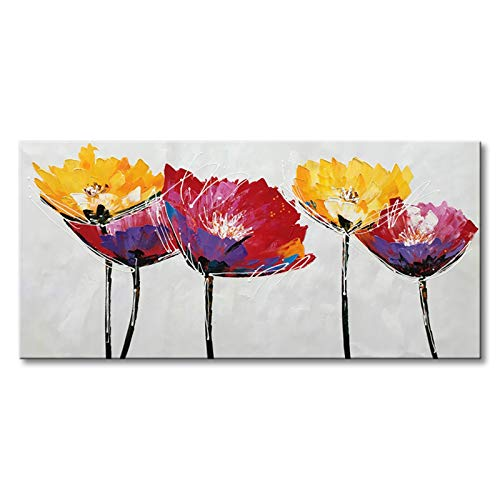 - Seekland Art Hand Painted Modern Flower Oil Painting on Canvas Abstract Wall Art Colorful Floral Decor Hanging Contemporary Artwork Stretched Ready to Hang (Framed 40