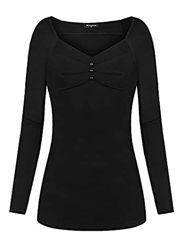 Sweetheart Neckline Shirt,Miagooo Women Cute Detail Casual Long Sleeve V Neck Tee Shirt Solid Blouse - Sweetheart Neck Top
