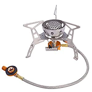 OUTON Portable Camping Gas Stove Butane/Propane with Piezo Ignition Windproof Foldable Lightweight Backpacking Stove with Carrying Case