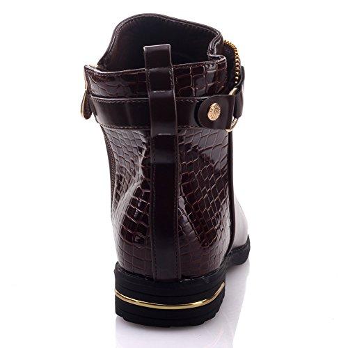 Unze Chain Boots Adornado invierno tobillo Mujeres Roxie ' Marrón