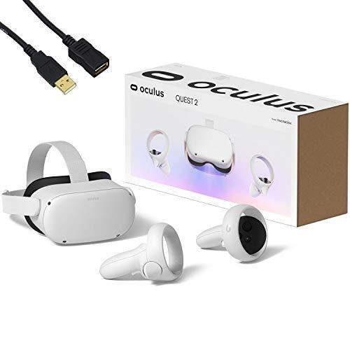 Oculus Quest 2 - Auriculares avanzados para juegos de realidad virtual todo en uno - Blanco - Vídeo de 256 GB - Paquete familiar navideño - Cable de extensión USB BROAGE de 5 pies