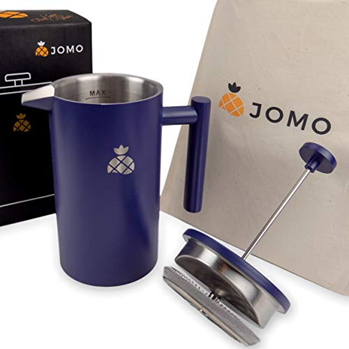- French Press Coffee Maker by JOMO (Blue)- Insulated Double Wall Stainless Steel for Hotter Coffee & Tea (34oz / 1L) - Classic Design for Your Kitchen - Portable Durability for Travel & Camping