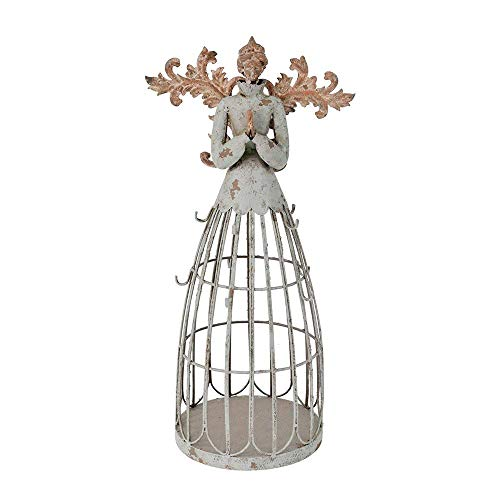 Morning View Antique Metal Praying Angel Garden Statue with Wings for Indoor Outdoor Yard Lawn Patio Art Decor (Style A) (Patio Yard Art And)