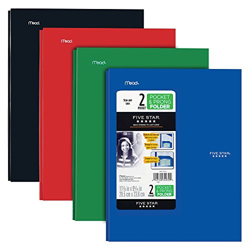 Five Star 2 Pocket Folders with Prong Fasteners, Stay-Put Folder, Folders with Pockets, Plastic, Black, Red, Green, Blue, 4 Pack (38064)