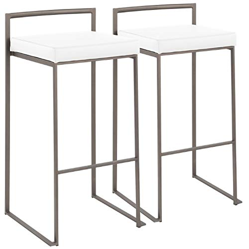 Industrial Stacker Barstool in Antique and White - Set of 2