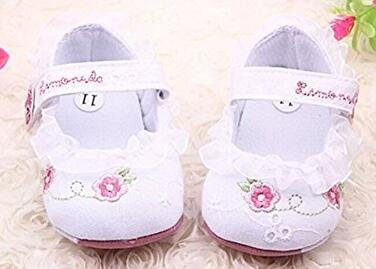5Five Sweet cotton flowers printed lace soft soled baby shoes 6-12 Monday baby girl(13cm)