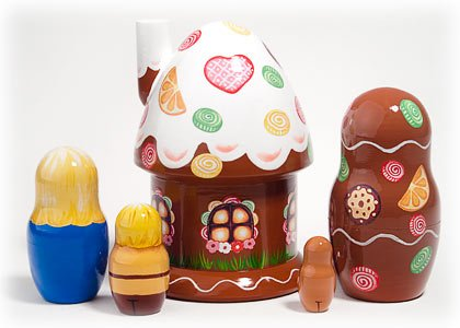 Hansel and Gretel 5 Piece Russian Wood Nesting Doll Matryoshka Stacking Dolls by Golden Cockerel (Image #1)