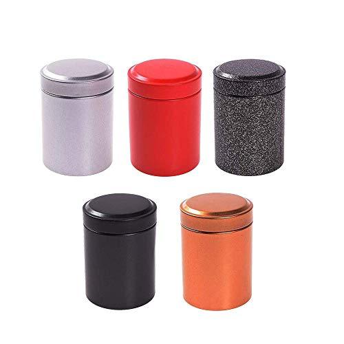 EOPER 5 latas de te con tapas hermeticas, mini recipientes redondos para te para almacenamiento de hojas sueltas, te, cafe, azucar