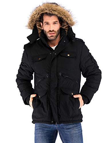 Yozai Mens Winter Military Warm Jacket Fleece Coat with Detachable Fur Hood Outwear Black XX-Large