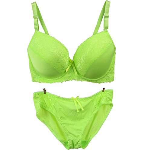 MagicQK Bra, Full Coverage D Cup Bras, Underwire, Adjustable Strap, Double Hook and Eye Closure, With Bow (Green, 40D)