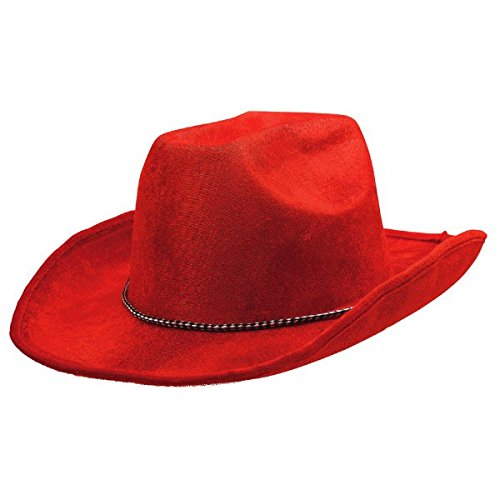 Amscan Party Ready Team Spirit Velour Cowboy Hat Accessory, Red, Fabric, 5 X 13 Costume 5 X 13 Costume TradeMart Inc. -- Dropship 255606.40