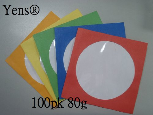 Yens 100 pk color cd dvd paper sleeves envelopes with for 100 paper cd sleeves with window flap