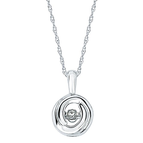 Boston Bay Diamonds 925 Sterling Silver Dancing Diamond Circle Pendant Necklace, 18