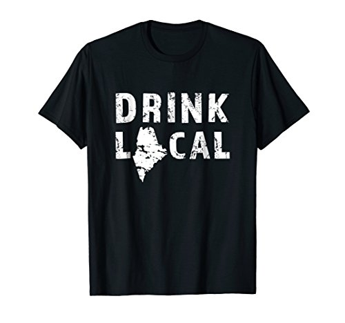 (Mens Drink Local Maine Craft Beer ME Pine Tree State T-Shirt 2XL Black)