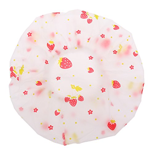 Dovewill Women Reusable Waterproof Plastic Shower Cap Bathing Salon Hair Washable Hat - Strawberry, as described
