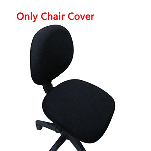 Trycooling Polyester Spandex Universal Stretch Rotating Pure Color Chair Cover for Computer Office Desk (Black)