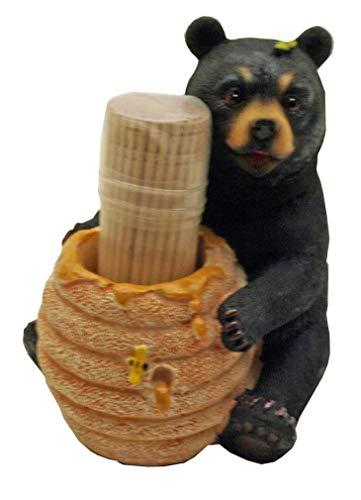 (1 X Cute Black Bear / Honey Pot Toothpick Holder - Decorative Lodge Cabin Bear Cub Decor )