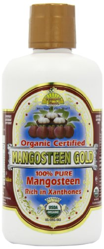 Dynamic Health Mangosteen Gold- 100% Pure Organic Certified Mangosteen Juice, 32-Ounce Bottle
