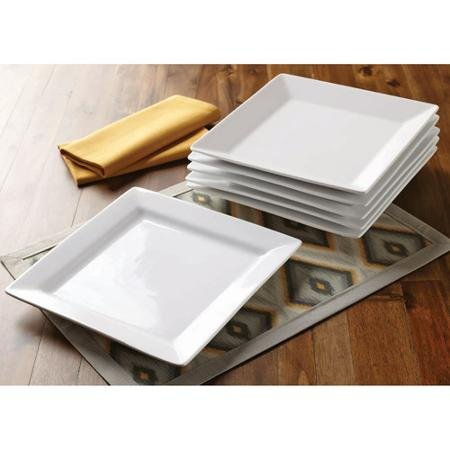 (Better Homes and Gardens Set of 6 White Square Porcelain Dinner Plates)