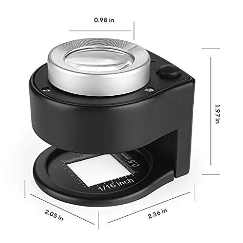 Desktop Portable Metal Magnifier Folding Scale Sewing Magnifying Glass for Textile Optical Jewelry Tool Coins Currency HunterBee 30X Loupe Magnifier with 6 LED and UV Light