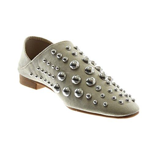 Angkorly Damen Schuhe Oriental Hausschuhe Mule - Slip-On - Flexible - Reversible - Perle - Nieten - Besetzt Blockabsatz 2 cm Grau