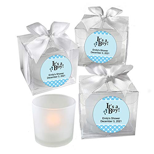 All Things Weddings, PERSONALIZED Votive Tealight Candle and Holder, It's a Boy Design, Baby Shower Party Favors, Set of 40, Blue