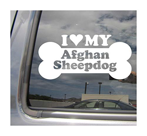 I Heart Love My Afghan Sheepdog - Dog Bone Afghan Hound Belgian Sheepdog Mix Hybrid Cars Trucks Moped Helmet Hard Hat Surfboard Auto Automotive Craft Laptop Vinyl Decal Store Window Wall Sticker 13013