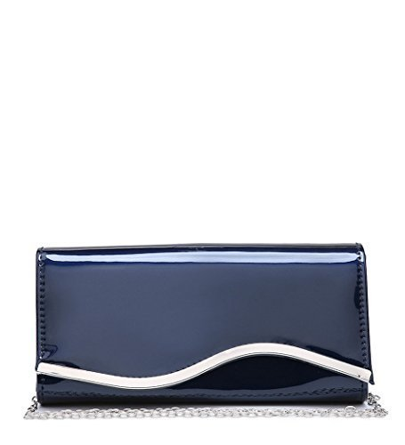 Womens Hand Patent Faux Prom Leather Dressy Party Blue Dark Ladies P52 Evening Clutch Occasion Bags qzrgq