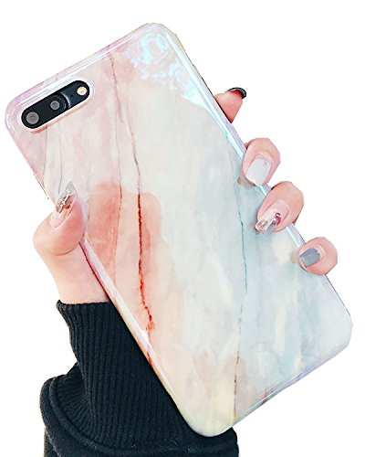 iPhone 8 Plus Case, iPhone 7 Plus Case, Jwest Marble Design Shiny Bumper Slim TPU Soft Rubber Silicone Cover Anti-Scratch Thin Back Protective Phone Case for Apple iPhone 7 Plus / 8 Plus Coral