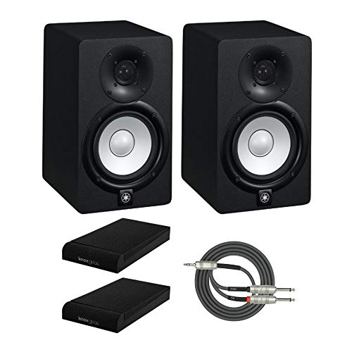 Yamaha HS5 70 Watt Powered Studio Monitor Speakers (Pair) Bundle with Knox Isolation Pads and Breakout Cable