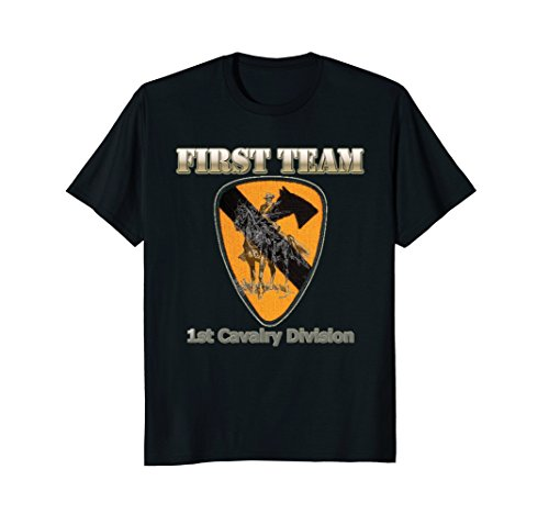 Mens First Team - for Army Veterans of 1st Cav Div T-shirt Large Black (1st Cav T-shirts)