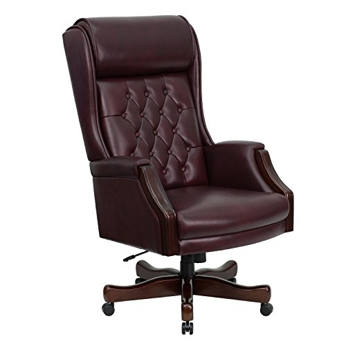A Line Furniture Presidential High Back Tufted Burgundy Leather Adjustable Swivel Office Chair With Leather Padded Mahogany Wood Arms and Base (Multi Task Chair Burgundy)