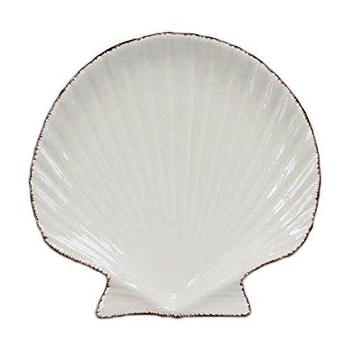 Japanese Ocean Style Shell Shaped Small Ceramic Dessert Plate Dinner Dish Porcelain Breakfast Serving Tray Bread Butter Fruit Plate Salad Plate Platter Microwave Safe Home Decor ()