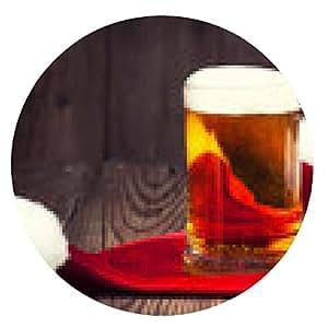 alfombrilla de ratón jarra de cerveza con el sombrero de Santa en el fondo de madera - ronda - 20cm