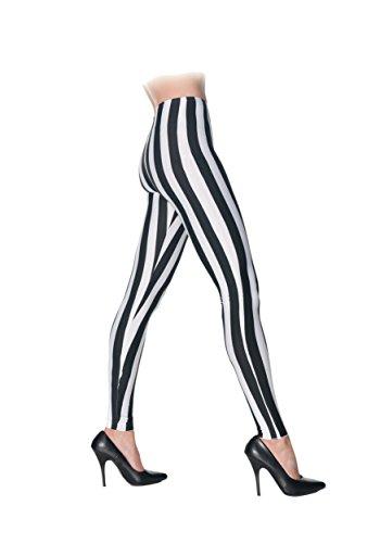 [Underwraps Women's Black and White Striped Leggings, Black/White, X-Small] (Striped Leggings Costumes)
