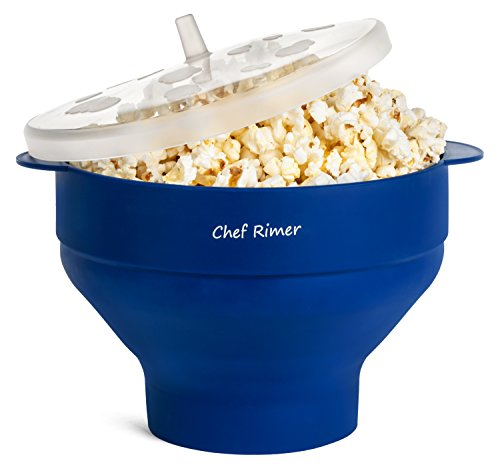 Chef Rimer Microwave Popcorn Popper Sturdy Convenient Handles Healthy No Oil Silicone Blue Collapsible Hot Air Movie Theater
