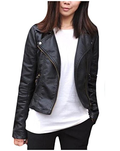 Collar Zip Front Leather Jacket - 4