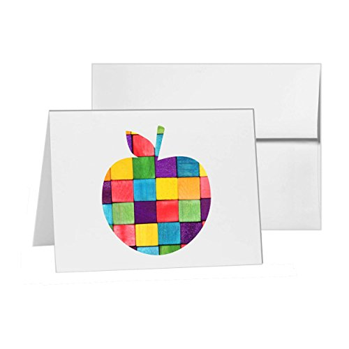 Peach Apple Food Fruit Orange, Blank Card Invitation Pack, 15 cards at 4x6, Blank with White Envelopes Style 15439 (Sending Fruit In The Mail)