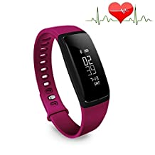 Bluetooth Smart Bracelet Watch Wristband Sports Blood pressure and Heart Rate Monitor Fitness Tracker Pedometer Step Counter Tracking Calorie Health Sleep Monitor OLED Display for Android IOS (Purple)