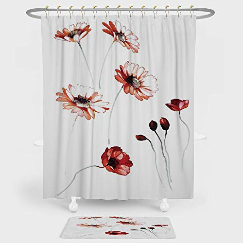 Watercolor Flower Shower Curtain And Floor Mat Combination Set Florals Print of Flower in Watercolor Painting Style Romantic Design Art Decorative For decoration and daily use Orange White ()