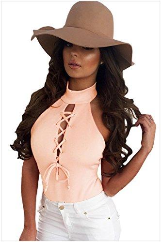 Century Star Womens Vintage Elegant High Neck Cut Out Bandage Swimwear Bodysuit Pink L