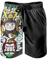 BOTURN Men's Beach Shorts Japanese Cat Warrior Print Elastic Waist Men Shorts with Pockets